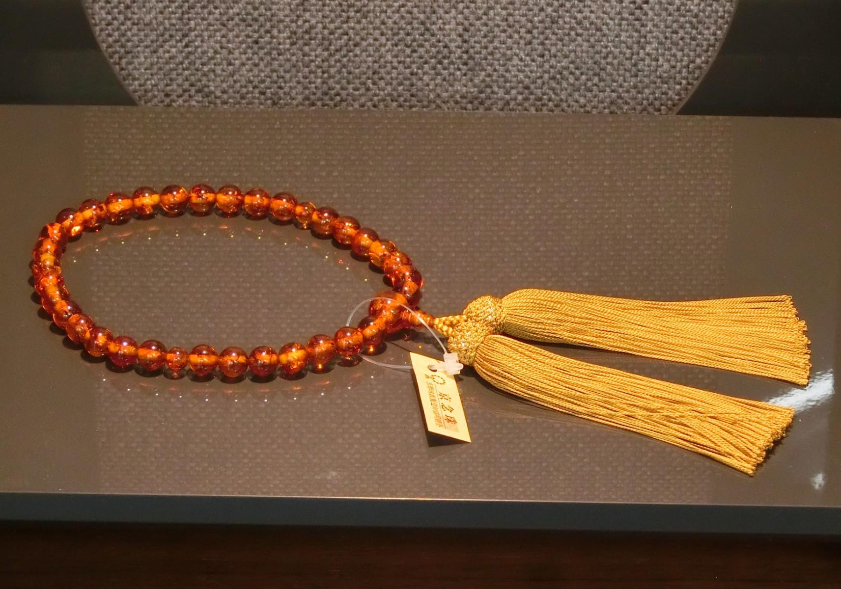 女性用数珠 琥珀(コハク)