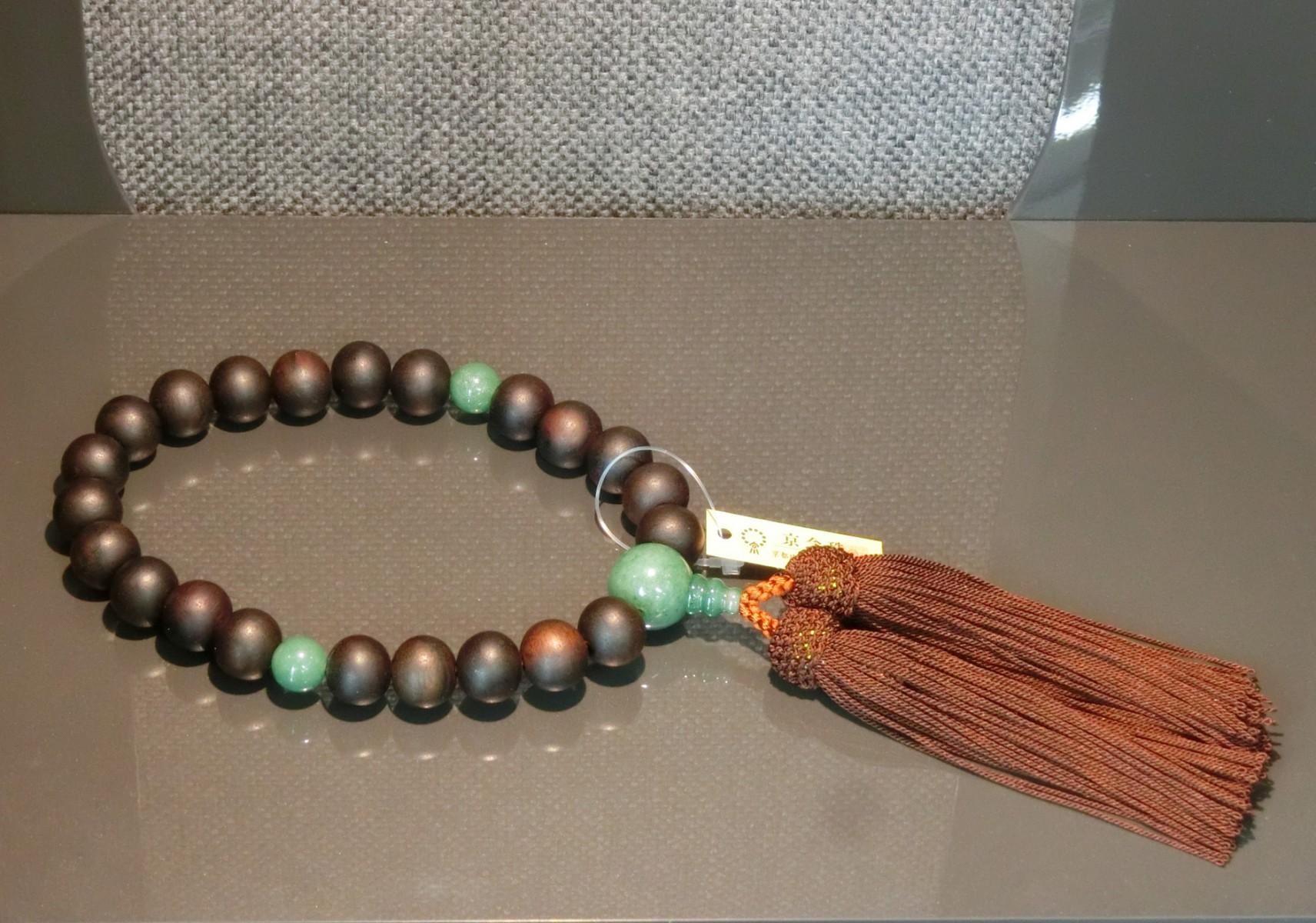 男性用数珠 素引縞黒檀翡翠(スビキコクタンヒスイ)仕立