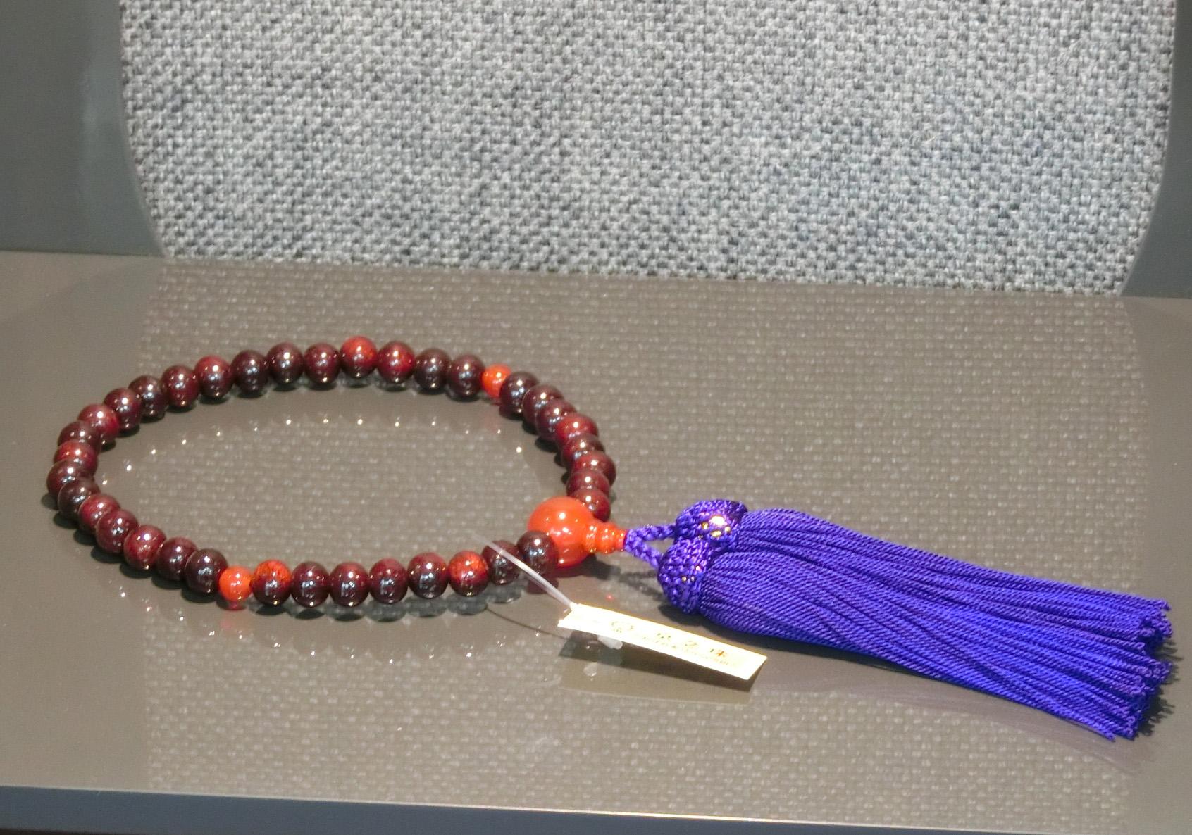 女性用数珠 紫檀瑪瑙(メノウ)仕立