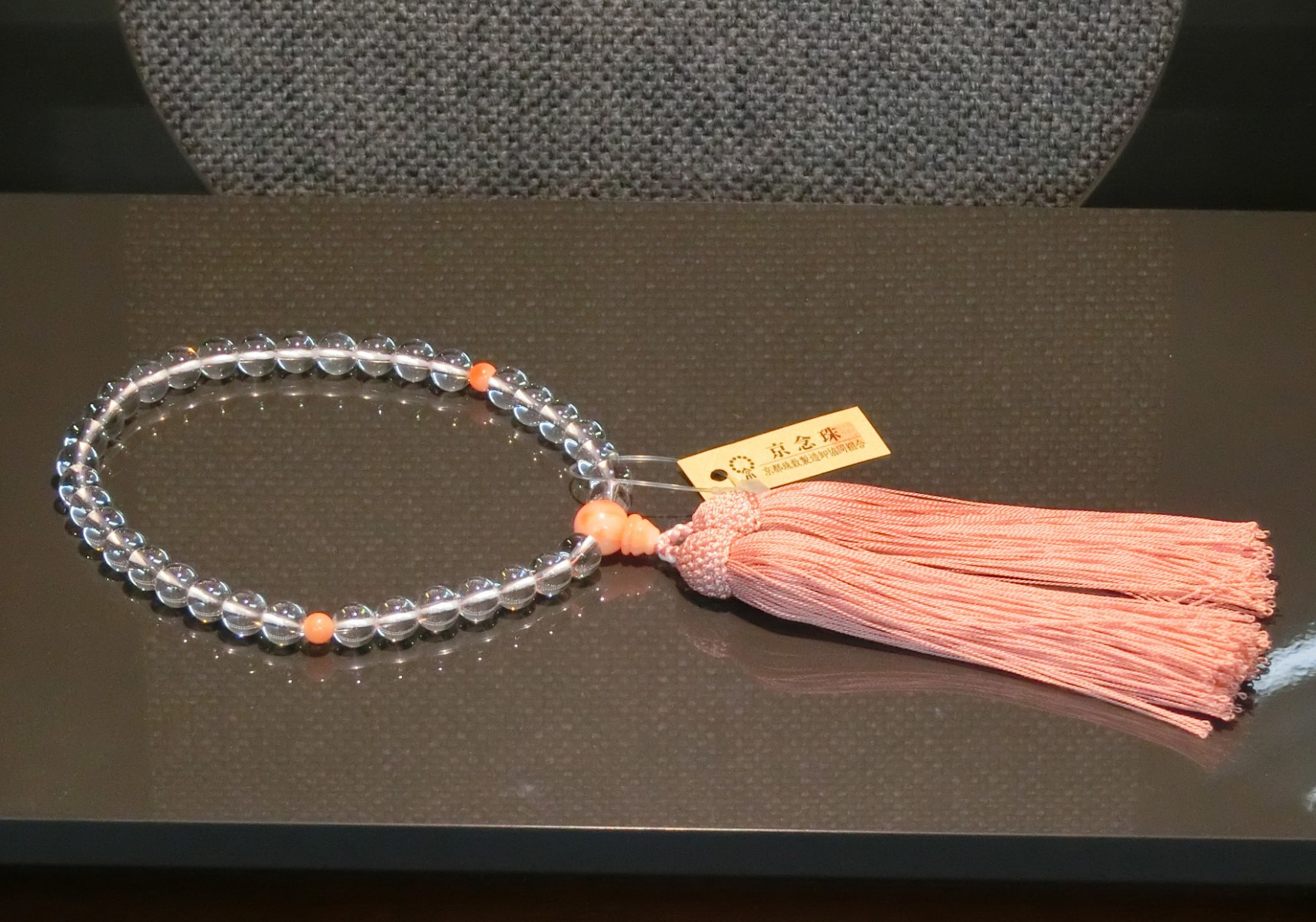 女性用数珠 本水晶本珊瑚仕立